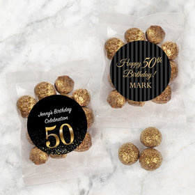 Personalized Milestone 50th Birthday Candy Bags with Premium Gourmet Sparkling Prosecco Cordials