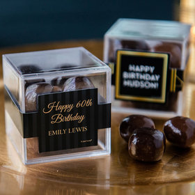 Personalized Milestone 60th Birthday JUST CANDY® favor cube with Premium Milk & Dark Chocolate Sea Salt Caramels