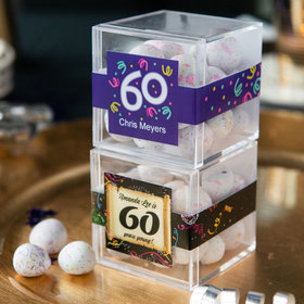 Personalized Milestone 60th Birthday JUST CANDY® favor cube with Premium Confetti Cookie Bites