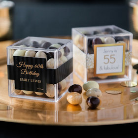 Personalized Milestone 60th Birthday JUST CANDY® favor cube with Premium New York Espresso Beans
