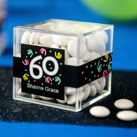Personalized Milestone 60th Birthday JUST CANDY® favor cube with Just Candy Milk Chocolate Minis
