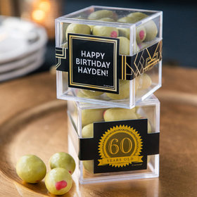 Personalized Milestone 60th Birthday JUST CANDY® favor cube with Premium Martini Olive Almonds - White Chocolate
