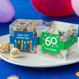 Personalized Milestone 60th Birthday JUST CANDY® favor cube with Rainbow Berries