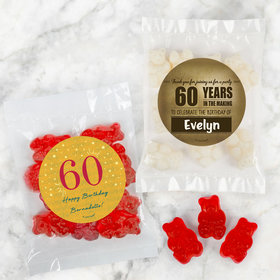 Personalized Milestone 60th Birthday Candy Bags with Gummi Bears