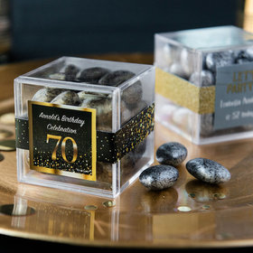 Personalized Milestone 70th Birthday JUST CANDY® favor cube with Premium Almond Jewels
