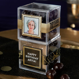 Personalized Milestone 70th Birthday JUST CANDY® favor cube with Premium Barrel Aged Bourbon Cordials - Dark Chocolate