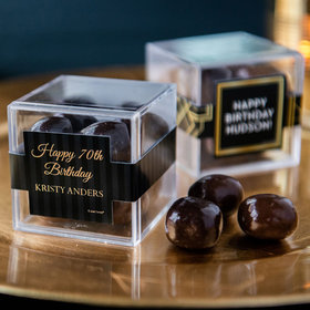 Personalized Milestone 70th Birthday JUST CANDY® favor cube with Premium Milk & Dark Chocolate Sea Salt Caramels