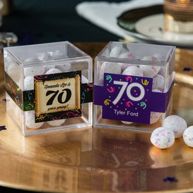 Personalized Milestone 70th Birthday JUST CANDY® favor cube with Premium Confetti Cookie Bites
