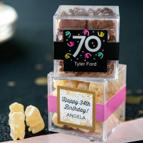 Personalized Milestone 70th Birthday JUST CANDY® favor cube with Premium Chocolate Covered Gummy Bears