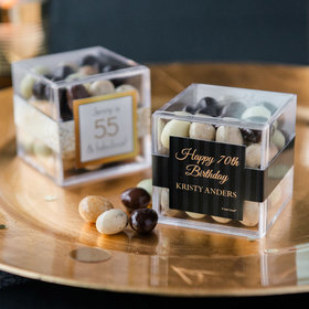 Personalized Milestone 70th Birthday JUST CANDY® favor cube with Premium New York Espresso Beans