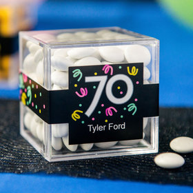 Personalized Milestone 70th Birthday JUST CANDY® favor cube with Just Candy Milk Chocolate Minis