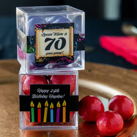 Personalized Milestone 70th Birthday JUST CANDY® favor cube with Premium Malted Milk Balls