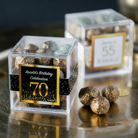 Personalized Milestone 70th Birthday JUST CANDY® favor cube with Premium Sparkling Prosecco Cordials - Dark Chocolate