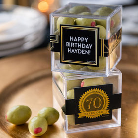 Personalized Milestone 70th Birthday JUST CANDY® favor cube with Premium Martini Olive Almonds - White Chocolate