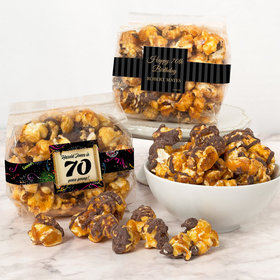 Personalized Milestone 70th Birthday Chocolate Caramel Sea Salt Gourmet Popcorn 3.5 oz Bags