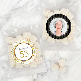 Personalized Milestone 70th Birthday Candy Bags with Jelly Belly Champagne Bubble Gumdrops