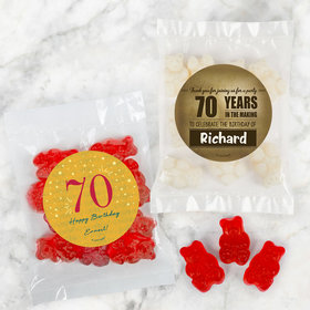 Personalized Milestone 70th Birthday Candy Bags with Gummi Bears