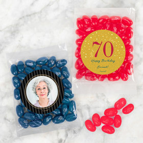 Personalized Milestone 70th Birthday Candy Bags with Jelly Belly Jelly Beans