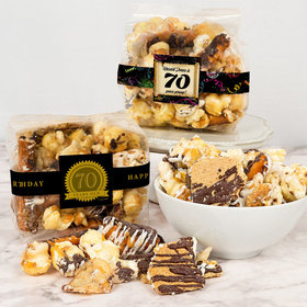 Personalized Milestone 70th Birthday Trendy Trash Gourmet Popcorn 3.5 oz Bags