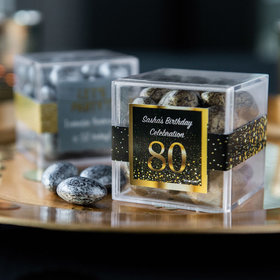 Personalized Milestone 80th Birthday JUST CANDY® favor cube with Premium Almond Jewels