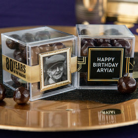 Personalized Milestone 80th Birthday JUST CANDY® favor cube with Premium Barrel Aged Bourbon Cordials - Dark Chocolate