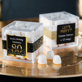 Personalized Milestone 80th Birthday JUST CANDY® favor cube with Jelly Belly Gumdrops