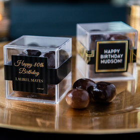 Personalized Milestone 80th Birthday JUST CANDY® favor cube with Premium Milk & Dark Chocolate Sea Salt Caramels