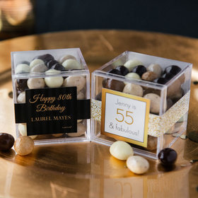 Personalized Milestone 80th Birthday JUST CANDY® favor cube with Premium New York Espresso Beans