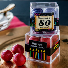 Personalized Milestone 80th Birthday JUST CANDY® favor cube with Premium Malted Milk Balls