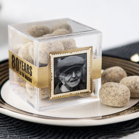 Personalized Milestone 80th Birthday JUST CANDY® favor cube with Premium Marshmallow S'mores - Milk Chocolate