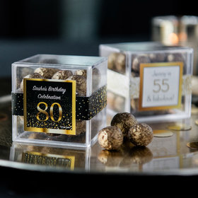 Personalized Milestone 80th Birthday JUST CANDY® favor cube with Premium Sparkling Prosecco Cordials - Dark Chocolate