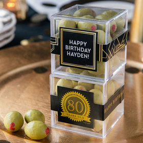 Personalized Milestone 80th Birthday JUST CANDY® favor cube with Premium Martini Olive Almonds - White Chocolate