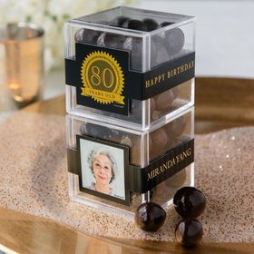 Personalized Milestone 80th Birthday JUST CANDY® favor cube with Premium Rum Cordials - Dark Chocolate