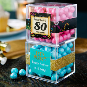 Personalized Milestone 80th Birthday JUST CANDY® favor cube with Sixlets Chocolate