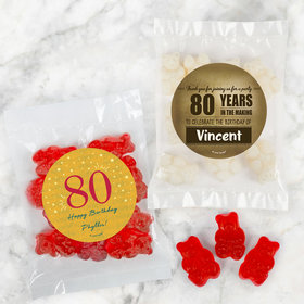 Personalized Milestone 80th Birthday Candy Bags with Gummi Bears
