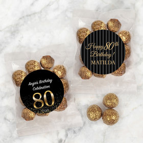 Personalized Milestone 80th Birthday Candy Bags with Premium Gourmet Sparkling Prosecco Cordials