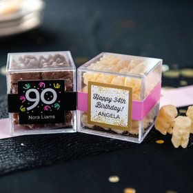 Personalized Milestone 90th Birthday JUST CANDY® favor cube with Premium Chocolate Covered Gummy Bears