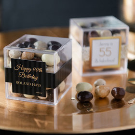Personalized Milestone 90th Birthday JUST CANDY® favor cube with Premium New York Espresso Beans