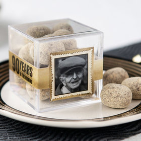 Personalized Milestone 90th Birthday JUST CANDY® favor cube with Premium Marshmallow S'mores - Milk Chocolate