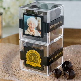 Personalized Milestone 90th Birthday JUST CANDY® favor cube with Premium Rum Cordials - Dark Chocolate