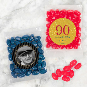 Personalized Milestone 90th Birthday Candy Bags with Jelly Belly Jelly Beans