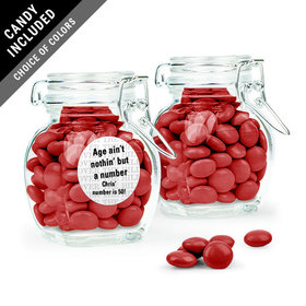 Personalized Milestones Birthday Favor Assembled Swing Top Jar Filled with Just Candy Milk Chocolate Minis