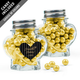 Personalized Milestones Birthday Favor Assembled Heart Jar Filled with Sixlets