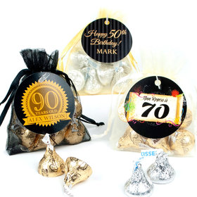 Personalized Milestones Birthday Favor Assembled Organza Bag Filled with Hershey's Kisses