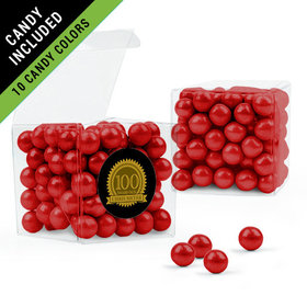 Personalized Milestones 100th Birthday Favor Assembled Clear Box Filled with Sixlets