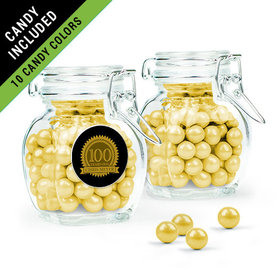 Personalized Milestones 100th Birthday Favor Assembled Swing Top Jar Filled with Sixlets