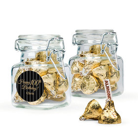 Personalized Milestones 100th Birthday Favor Assembled Swing Top Square Jar Filled with Hershey's Kisses