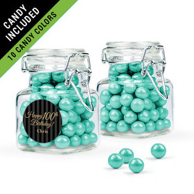 Personalized Milestones 100th Birthday Favor Assembled Swing Top Square Jar Filled with Sixlets