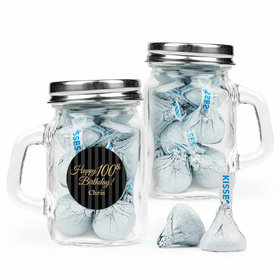 Personalized Milestones 100th Birthday Favor Assembled Mini Mason Mug Filled with Hershey's Kisses