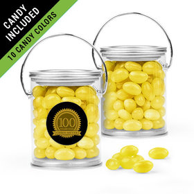 Personalized Milestones 100th Birthday Favor Assembled Paint Can Filled with Just Candy Jelly Beans